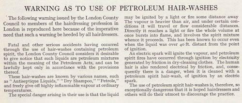 18th Century warning on Petroleum Hair-Washes