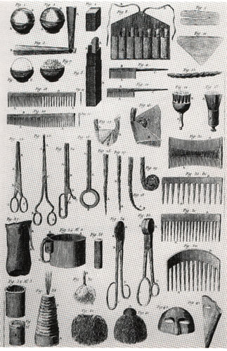 c18th - Wigmaker's tools and appliances
